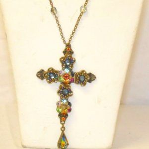 Michal Negrin Crystal Floral Cross Necklace